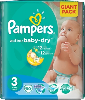 Pampers Active baby 3 midi 5-9 kg 90 ks