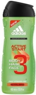 Adidas Active Start 3 v 1 sprchový gel + šampon 400 ml
