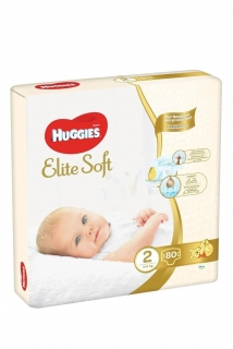 HUGGIES plenky Elite Soft vel.2 (4-6 kg) 80 ks