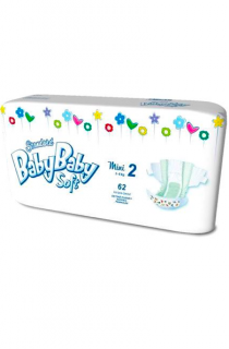 BabyBaby Soft plenky č. 2 Mini (3-6 kg) 62 ks